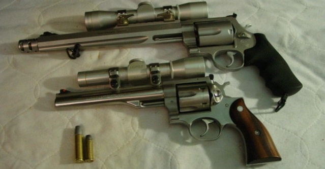 image of s&w 500 revolver and ruger redhawk