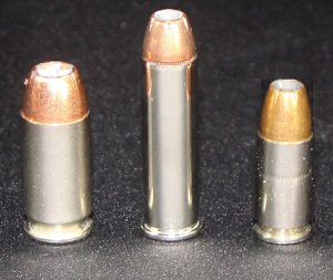 a picture of a .45 acp, a .357 magnum and a 9mm