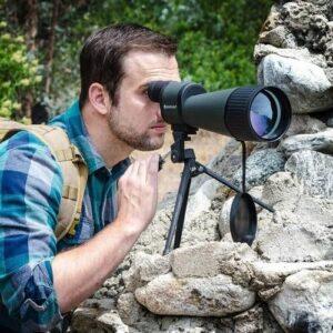 Image of man with Barska 30-90x100 WP Gladiator Spotting Scope