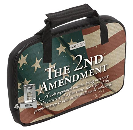 Image of Vaultz Locking Soft-Sided 2nd Amendment Flag Handgun Case
