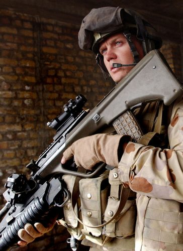 soldier with his bullpup rifle