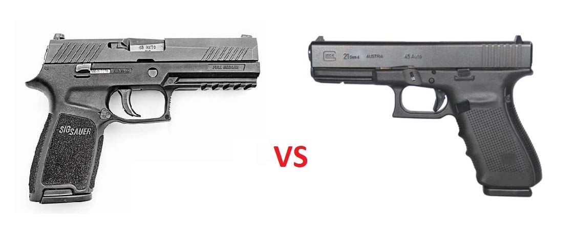 a picture of the SIG P320 and the Glock 21 Gen4 with a VS in the middle