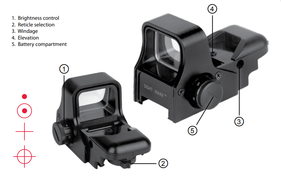 a picture of the Sightmark Ultra Shot's adjustment screws