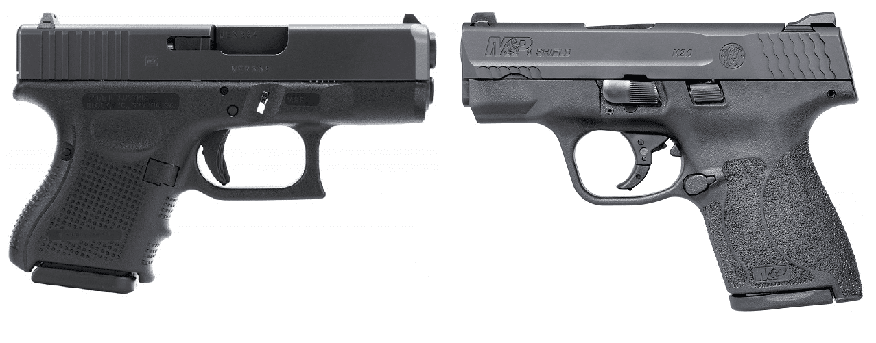 a picture of the Glock 26 and the S&W M&P9 Shield M2.0