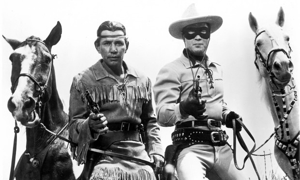 image of Lone Ranger and Tonto holding their revolvers