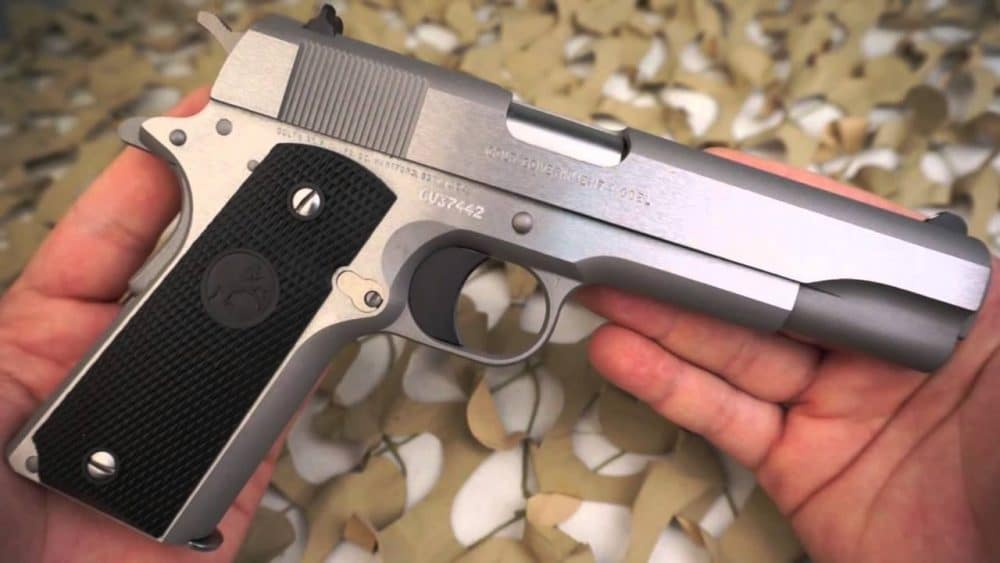 image of a colt 1911 government model stainless 45acp