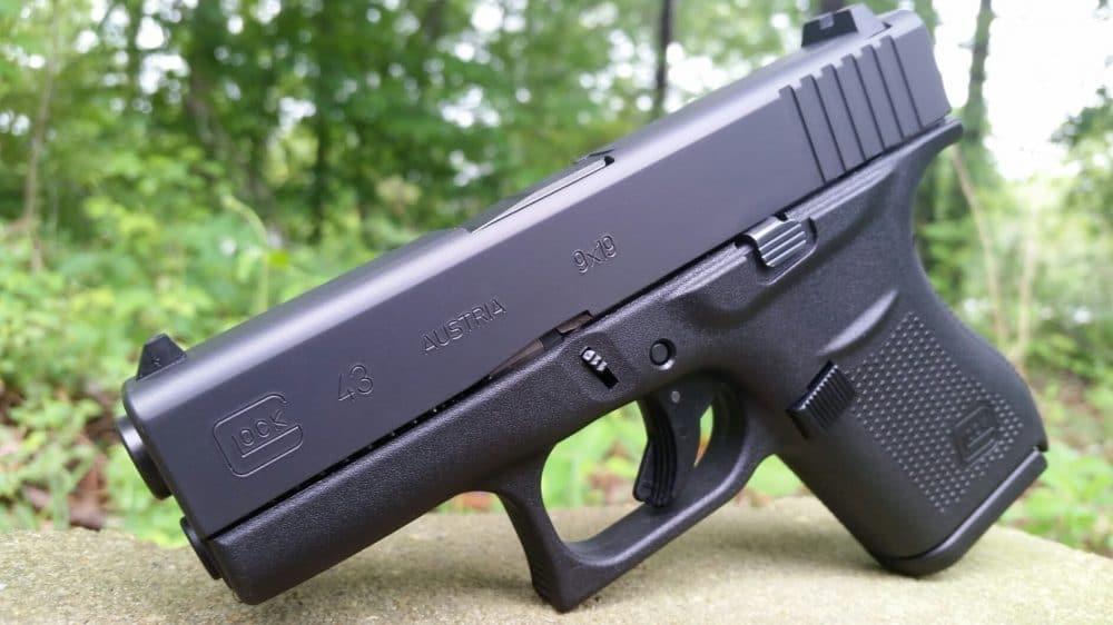 image of a glock 43 9mm handgun closeup
