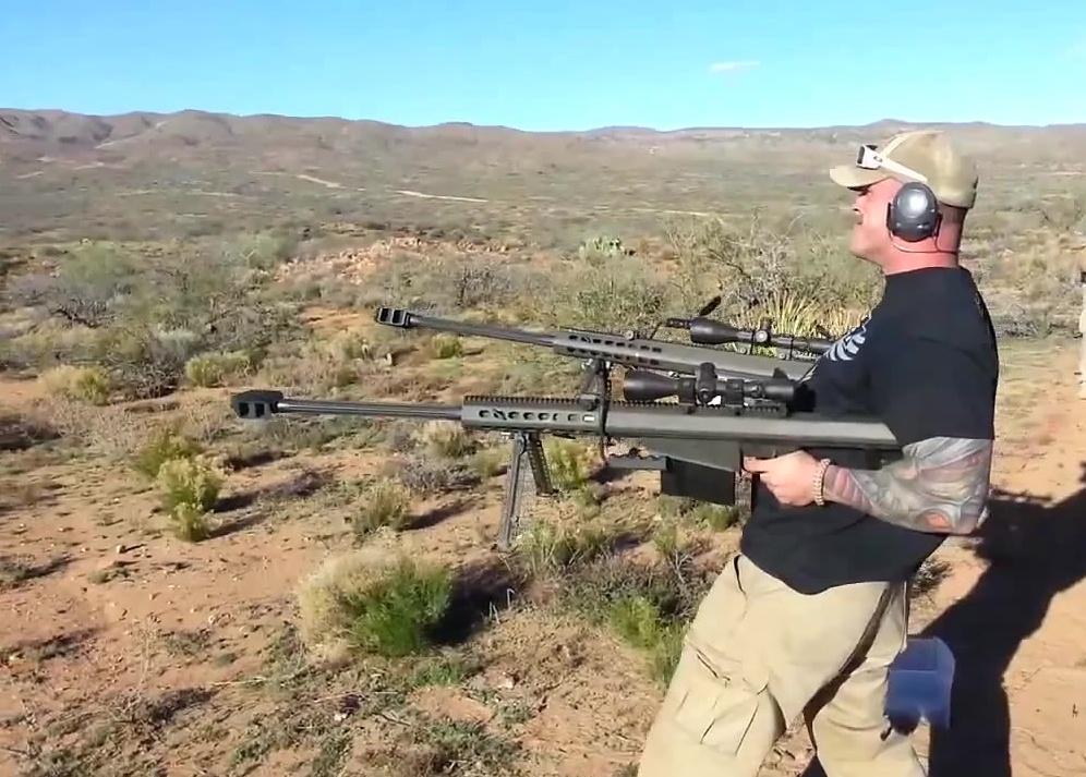 shooting two barret 50 caliber rifles
