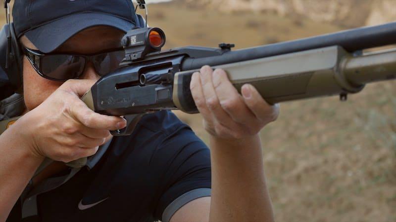 red dot sight on a shotgun