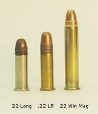 A picture of the .22 Long with a .22 Long Rifle and a .22 Winchester Magnum Rifle