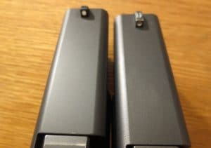 a picture of Glock the Gen 4 Finish Melonite compared with Gen 3 Tenifer