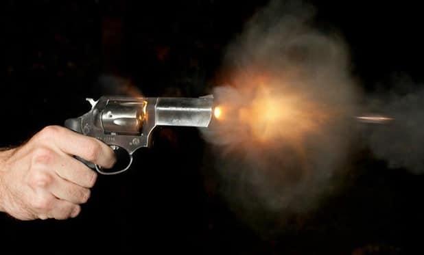 a picture of a revolver's muzzle flash