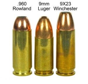 a picture of the 960 rowland with a 9mm and 9x23 winchester