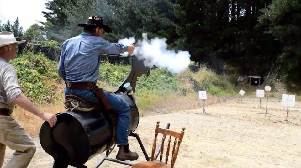 cowboy action shooting in gun range