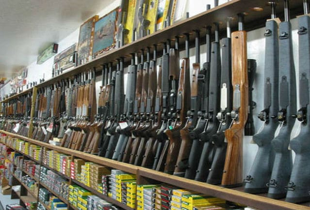 firearms in gun store