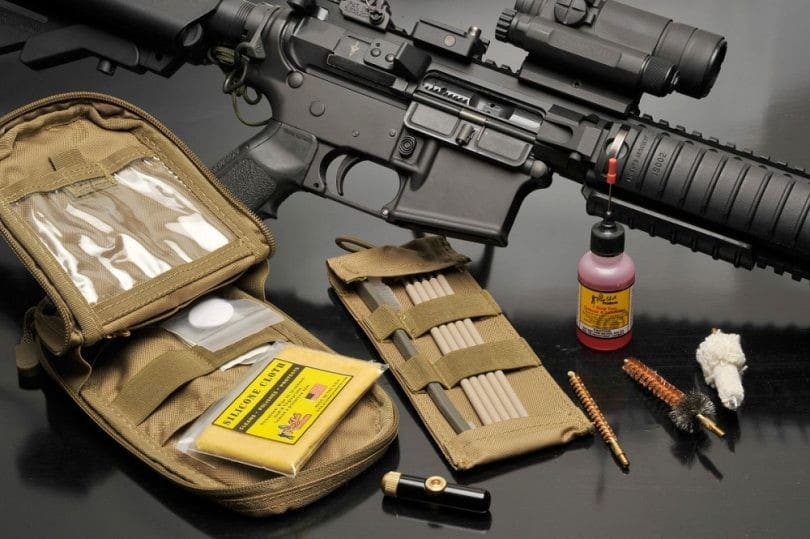 image of an ar 15 with gun cleaning kit