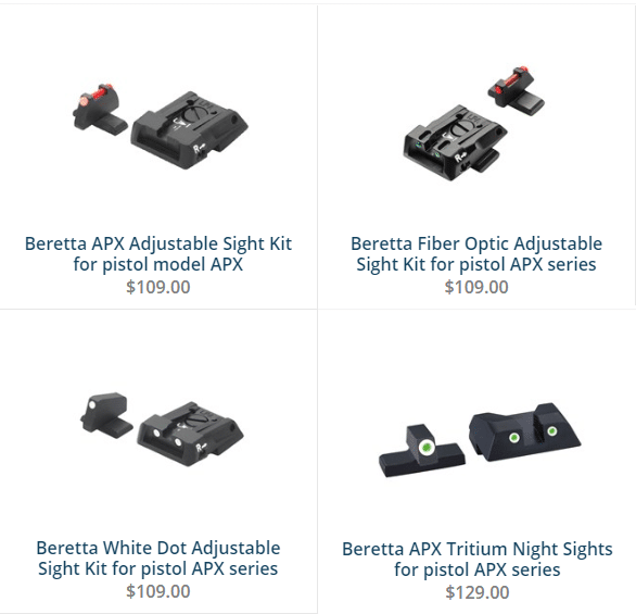 a picture of different Beretta APX aftermarket sights