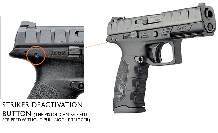 a picture of the Beretta APX Striker Deactivation Button