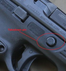 a picture of the Beretta APX takedown pin