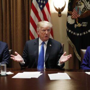 president trump with senators in session