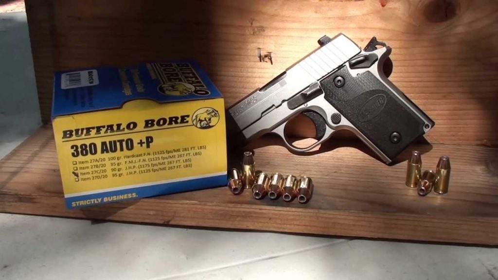 a picture of SIG P238 with 380 ACP +P Ammo