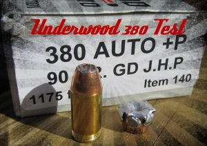 a picture of Underwood 90-grain Gold Dot .380 ACP +P