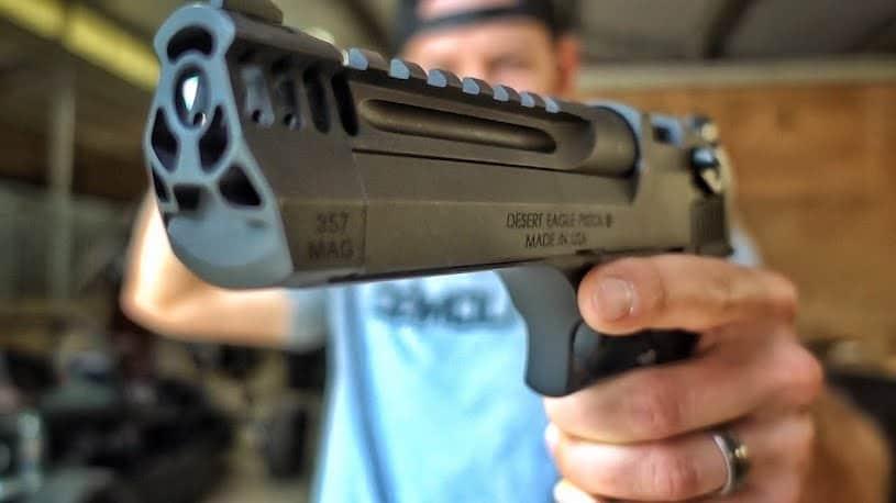 desert eagle handgun in range