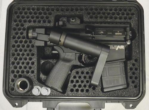 foldar rifle in gun case