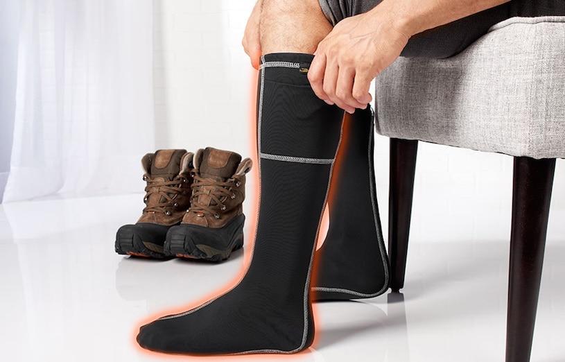 wearing heated socks