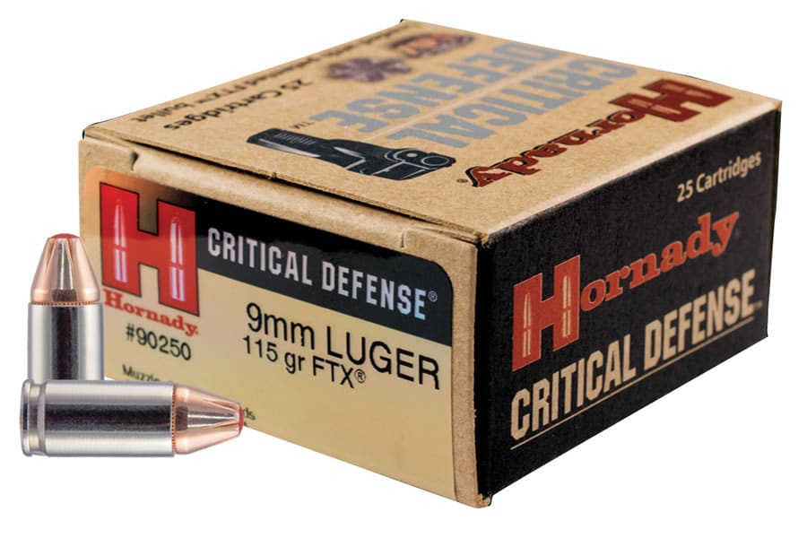 A picture of a box of Hornady 9mm Critical Defense FTX ammo