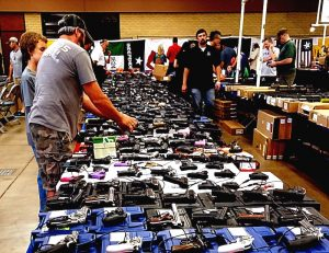 A picture of 9mm handguns for sale at gun show
