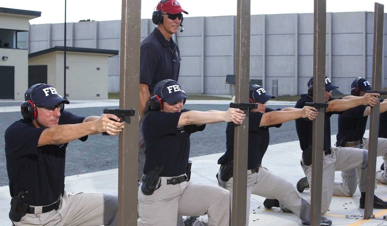 A picture showing FBI agents doing practice shooting