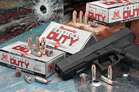 A picture of a Glock with Hornady ammo