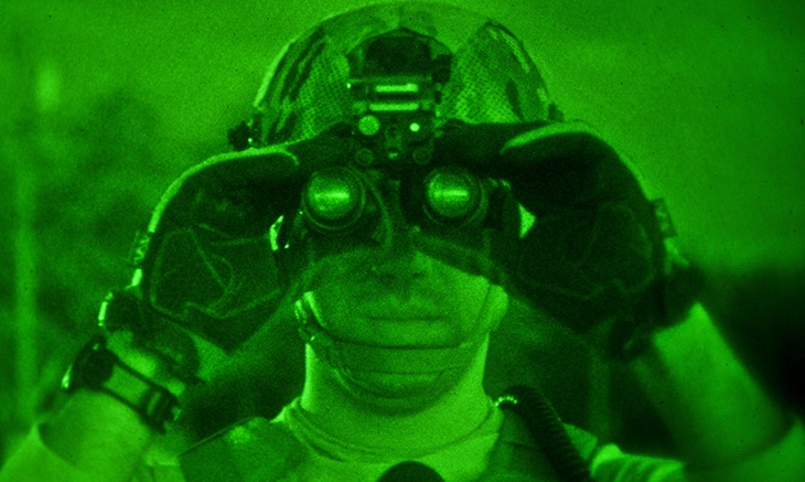 Military Man using a Night Vision