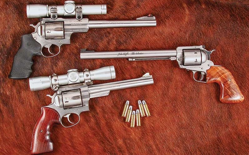 a picture of a Ruger Redhawk, Super Blackhawk and Super Redhawk in .44 Magnum
