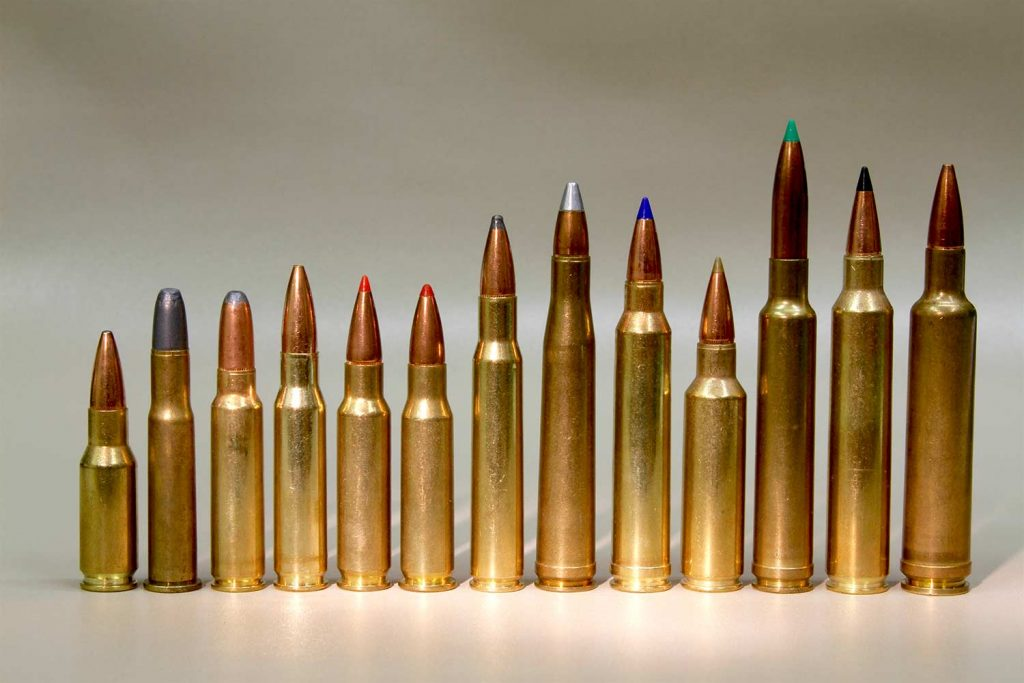 A picture of several different hunting rifle calibers