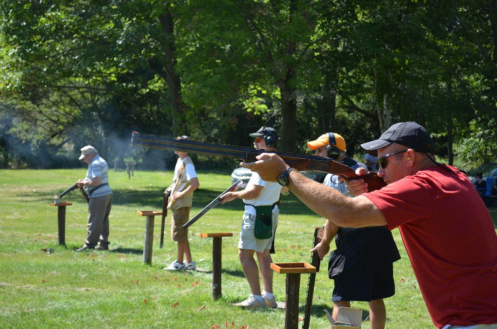 american trap shooting scene