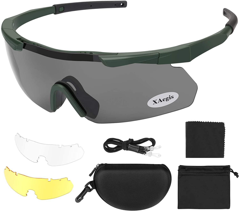 image of XAegis Tactical Eyewear 3 Interchangeable Lenses Outdoor Unisex Shooting Glasses