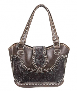 image of Montana West Concealed Carry Tooled Leather Shoulder Purse