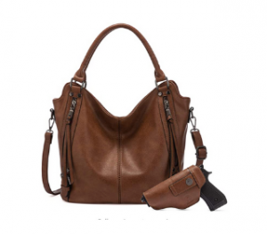 image of Realer Concealed Carry Women Hobo Leather Purse