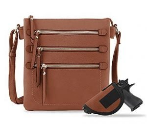 image of Triple Zip Pockets Concealed Carry Bag with Lock and Key