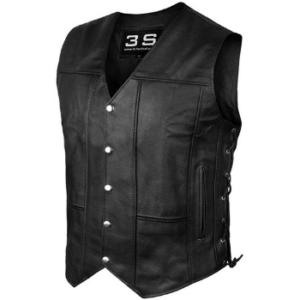 3S Motorcycle Biker MC Conceal Carry Leather Vest