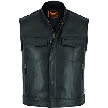 image of A&H Apparel Mens Genuine Cowhide Leather Vest