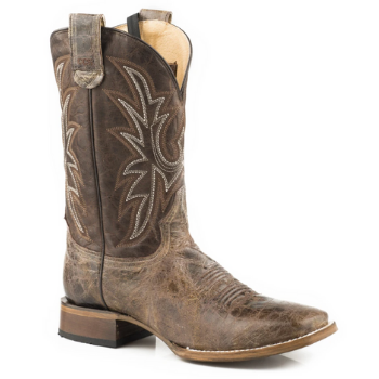 image of Mens Leather Concealed Carry Boot Waxy Brown With Embroidered Upper