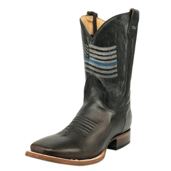 image of Roper Men's Concealed Carry Thin Blue Line Sidewinder Cowboy Boots – Brown