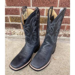 Roper Men's Leather Concealed Carry Boot in Burnished Black Loaded Black Square Toe
