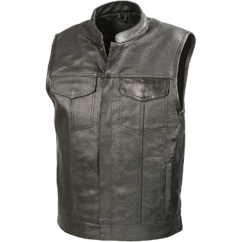 image of SOA Mens Leather Club Style Vest