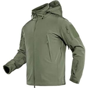 TACVASEN Men's Tactical Hooded Softshell Fleece
