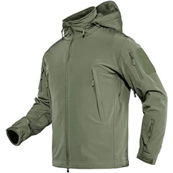 image of TACVASEN Men's Tactical Hooded Softshell Fleece