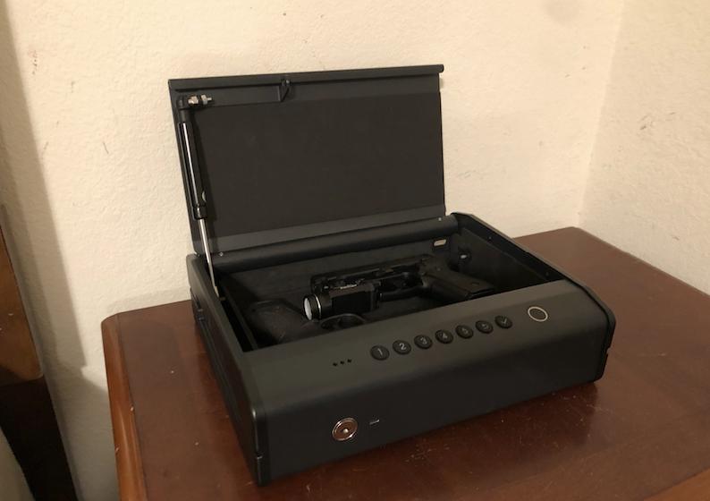 Wide shot of K5 Bedside Biometric Gun Safe open 2 guns